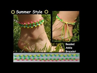Easy DIY Beaded Macrame Anklet [Ankle Bracelet] Tutorial