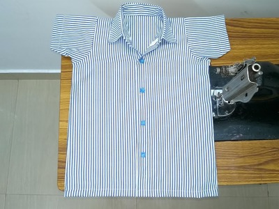 Girls uniform shirt cutting and stitching easy method(DIY) part - 2