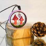 Mushroom Necklace Pink Purple Fungi Nature Grass Jewellery Mushie Mushrooms Accessories