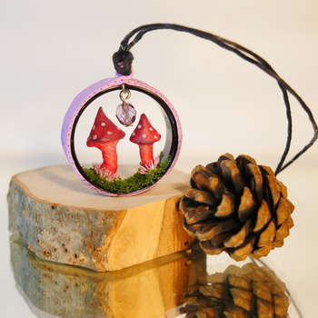 Mushroom Necklace Pink Purple Fungi Nature Grass Jewellery Mushie Mushrooms Accessories