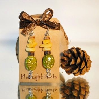Stone Yellow Green Earrings Nature Wood Dangle Jewellery Accessories Handmade