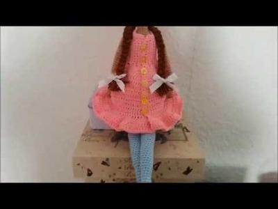 How to crochet easy doll dress.tilda dress crochet