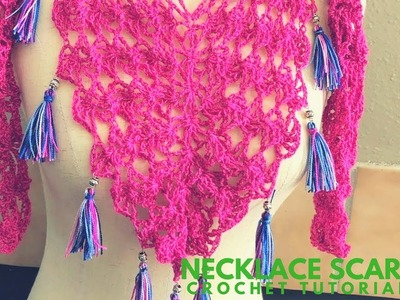 How to Make a Necklace Scarf V with Tassels - Crochet Tutorial - Super Easy