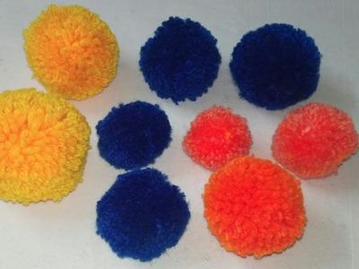 Pom Poms | Vinkam| How to make Pom Pom with Wool. Yarn at home |Crochet Pom Pom Toran | DIY Pom Poms