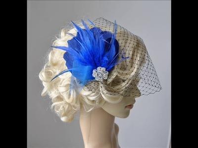 Blue Feather Fascinator with veil - Feather Hair Clip DIY , 1920s headpiece
