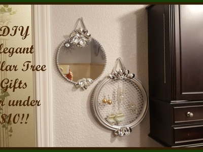 Glam Dollar Tree DIY Decorative Mirror and Hanging Earring Holder
