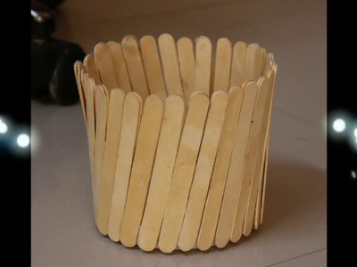 Handmade ice cream stick basket