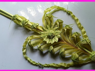 Heart flower making DIY. How to make a heart flower by date palm.