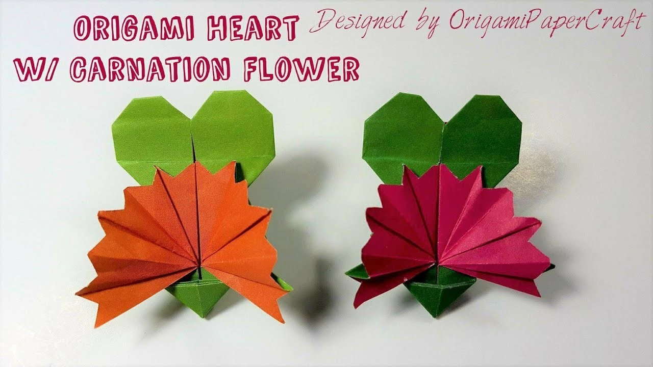 Origami Origami Heart With Carnation Flower Mothers Day Origami