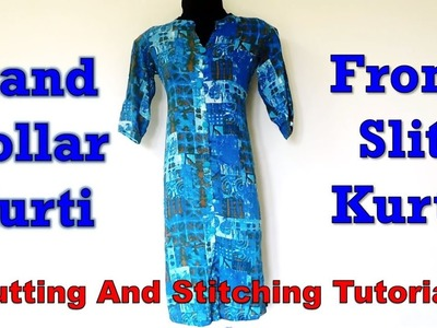Stand Collar Kurti with Front Slit | Easy Sewing Tutorial