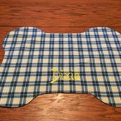 DOG PLACEMAT - Personalized - Blue and Beige Plaid -  Handmade