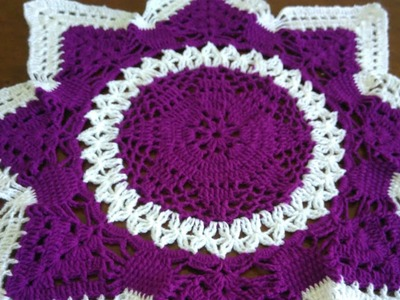 How to crochet star shape tablemat # in marathi # English subtitles लोकरीचा रुमाल प्रकार 14 # part 2