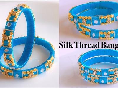 How To Make Beautiful Silk Thread Bangles At Home||Silk Thread Designer Bangles