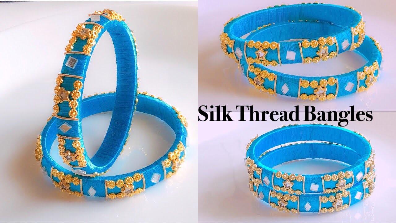 How To Make Beautiful Silk Thread Bangles At Home  Silk Thread Designer Bangles