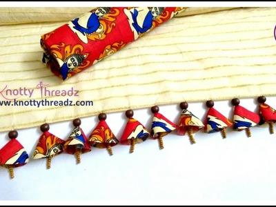 How to make Kalamkari Fabric Tassels on Sarees | Beaded Saree Edging | www.knottythreadz.com