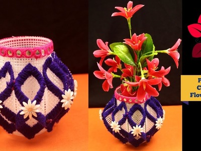 How to make plastic canvas flower vase - Plastic canvas crafts - Plastic canvas cute flower vase