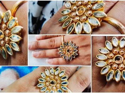 (DIY)HOW TO MAKE BEAUTIFUL FINGER RING.HANDMADE JEWELLERY.HOORIYA STYLE