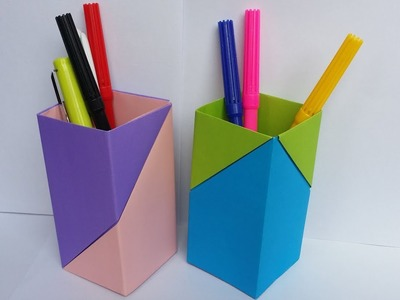 DIY: Paper Crafts!!! How to Make Beautiful Pen.Pencil Holder With Colour Paper!!!