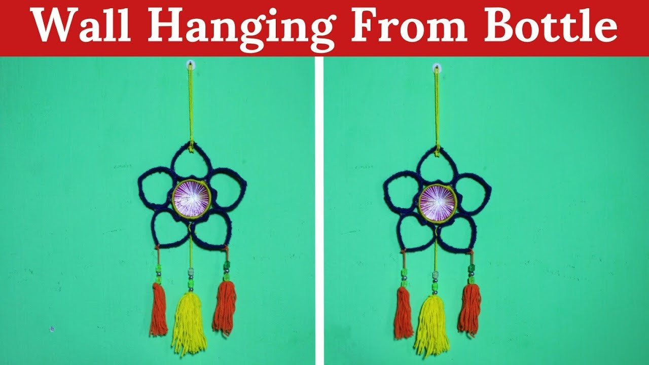 How To Make A Wall Hanging From Plastic Bottle And Wool | Best Out Of Waste | Basic Craft