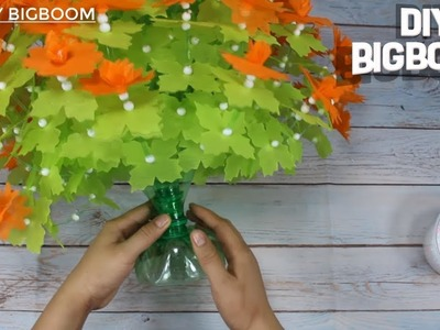 How to make flower vase from plastic bottles | 7up & tissue paper |DBB