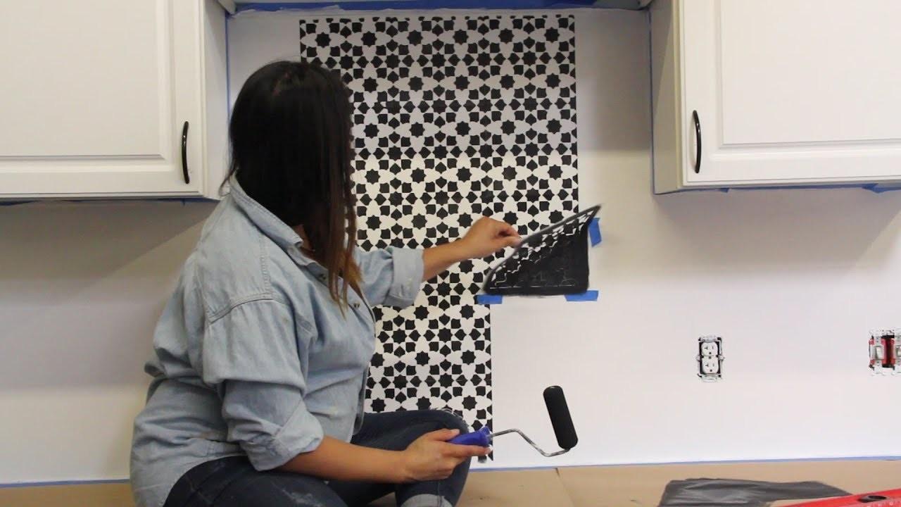How to Stencil Your Kitchen Tile Backsplash
