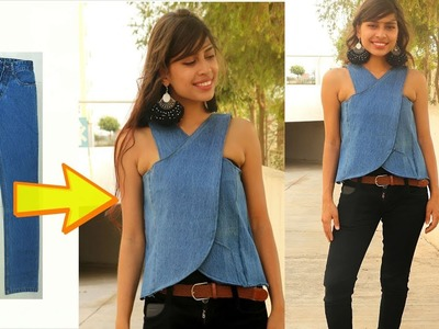 DIY: Convert. Recycle, Reuse old jeans into girls wrap top | Diy top from old Denim