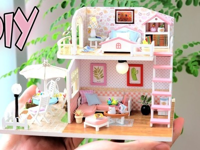 DIY Miniature Dollhouse Kit || Pink Loft ( With Furniture Music Light )