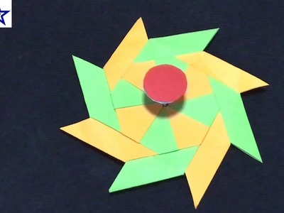 How To Make a Paper Transforming 8 Pointed Ninja Star, Paper Fidget Spinner WITHOUT BEARINGS,