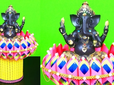 How to Make Diy Ganesh Lotus Stand | Ganesh Sinhasan at Home | Best Out of Waste