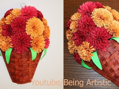 Paper Flower Wall Hanging - DIY Hanging Flower  - Wall Decoration ideas