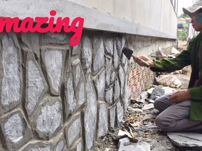 Construction skill - quick natural stone making, how to paste it to the wall- xd2x