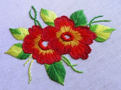 Cushion Cover Design By Long and Short Stitch with French Knot | Hand Embroidery Designs #39