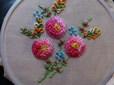 Hand embroidery. Flower embroidery design. Hand embroidery stitches.