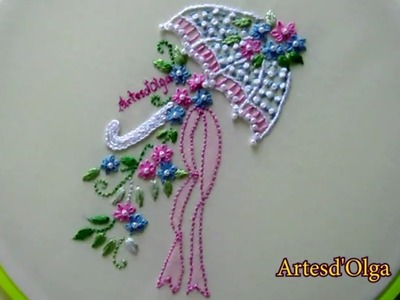 Hand Embroidery: Umbrella Flower Bouquet | Bordados a mano: Sombrilla con bouquet de flores