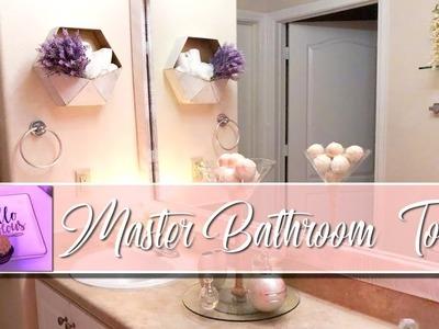 2018 MASTER BATHROOM TOUR! | Champagne and Gold Decor | DECOR FOR RENTERS | MOOREGIRL