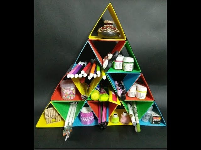 Best Out of Waste, How to make a Triangle Organizer, DIY Triangle Desk Organizer at home, Kids Craft