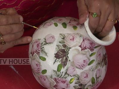 Decoupage Pot Painting