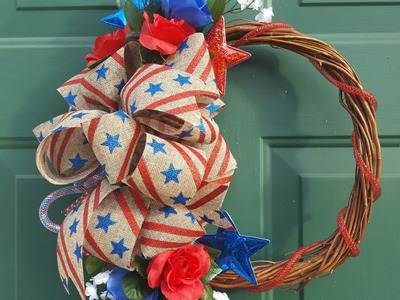 EASY DOLLAR TREE WREATH TUTORIAL | MEMORIAL DAY & 4TH OF JULY