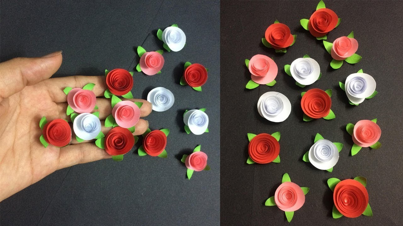 How To Make Small Rose Paper Flower Making Paper Flowers Step By