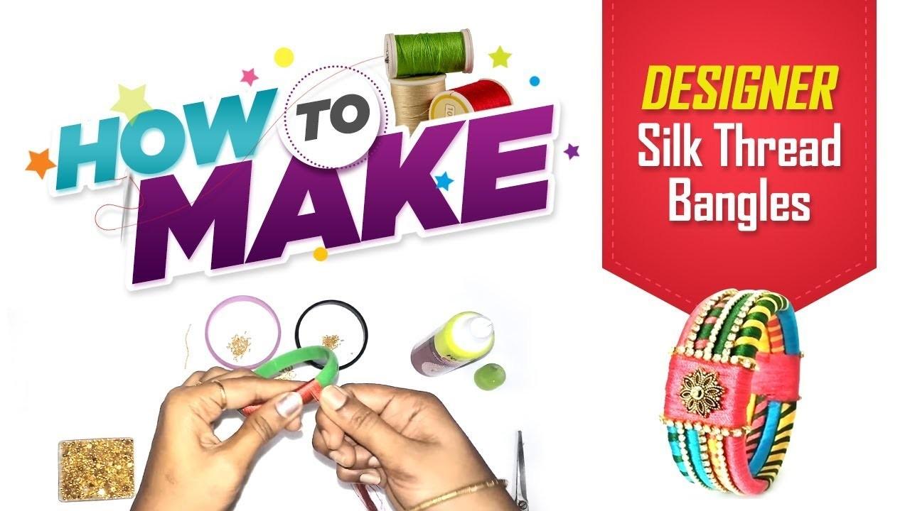 Silk thread bangles making video at home in Tamil     free hand designer Silk Thread bangles
