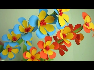 VERY EASY!! Paper Flower Stick. DIY. Paper Craft. How to Make Beautiful Paper Flower Stick