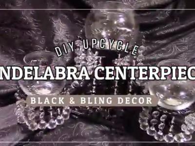 DIY UpCycle Black & Bling Candelabra Centerpiece