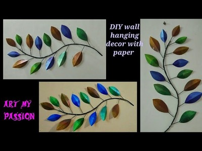 DIY Wall Hanging Decor with Paper   DIY wall hanging with newspaper   DIY wall decor   artmypassion