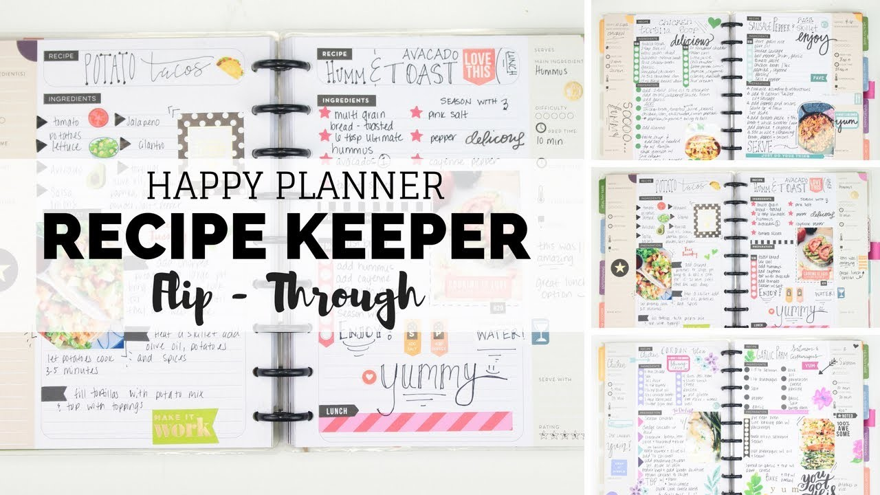 HAPPY PLANNER Recipe Keeper Flip-Through! All The Yummy Recipes!   At Home With Quita