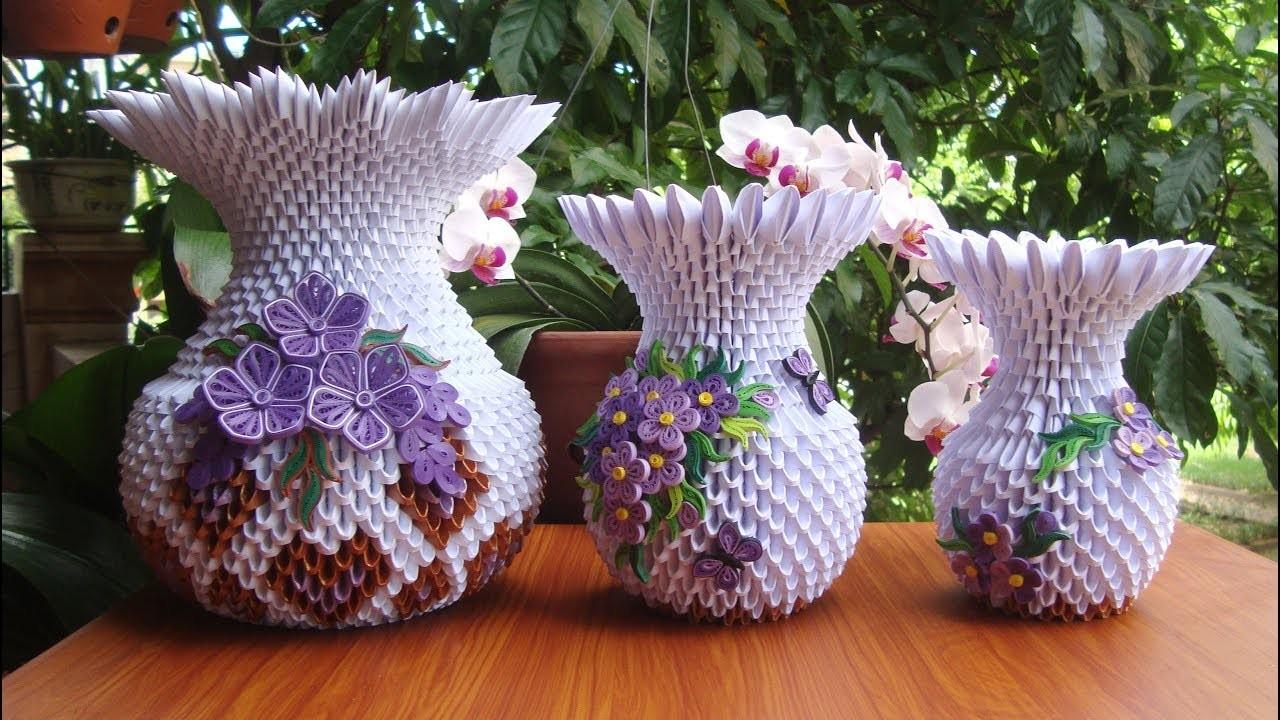 How To Make 3d Origami Flower Vase V10 Diy Paper Flower Vase