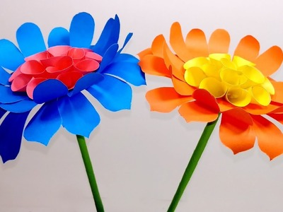 How to make Beautiful & Easy Stick Paper Flower|DIY Stick Flower with Paper-Jarine's Crafty Creation