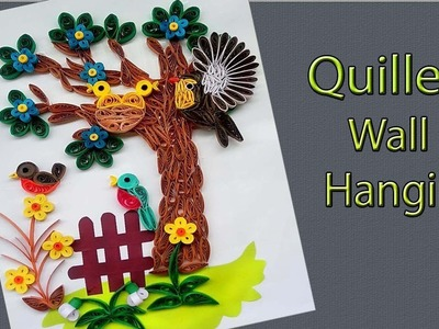 Quilled handcraft wall decor | Wall hanging tree of birds family | Paper Quilling Art