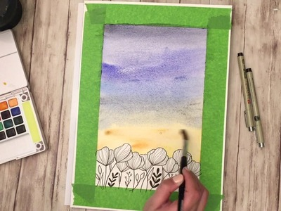 Watercolor Sky and Floral Drawing Tutorial with Leslie Tieu