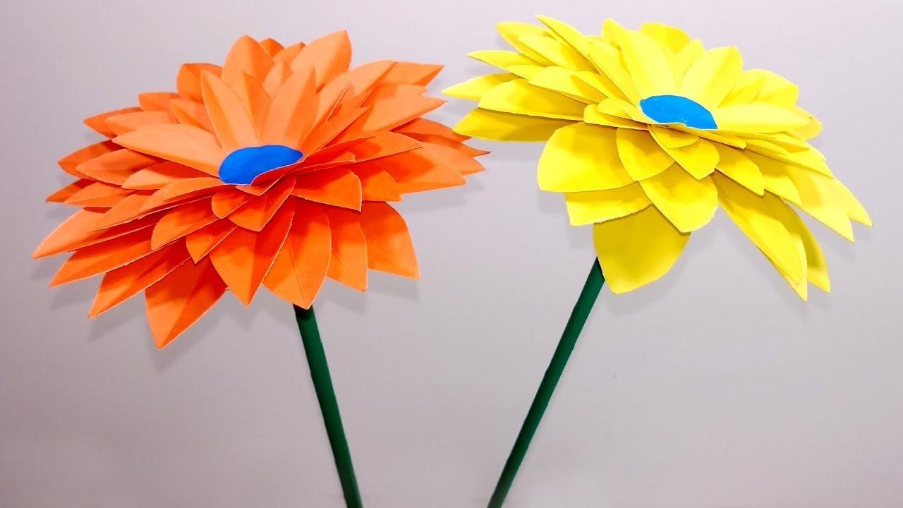 DIY: Stick Paper Flower | Beautiful Stick Paper Flower for Home Decor | Jarine's Crafty Creation