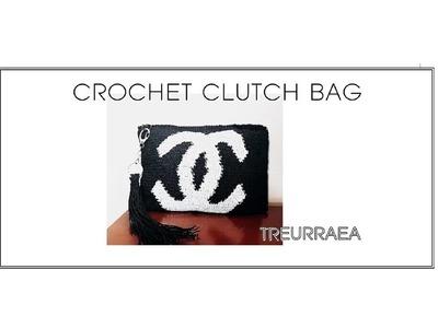 How to crochet clutch bag.クラッチ.手抓包.
